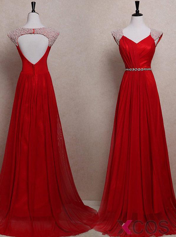 Simple Dress Elegant White Pearl Ced Long Red Chiffon Prom Dresses Wedding Reception
